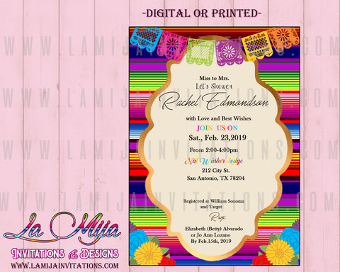 Fiest Bridal Invitations, Customized Item, Mexican Bridal Invitations - Addi Creations