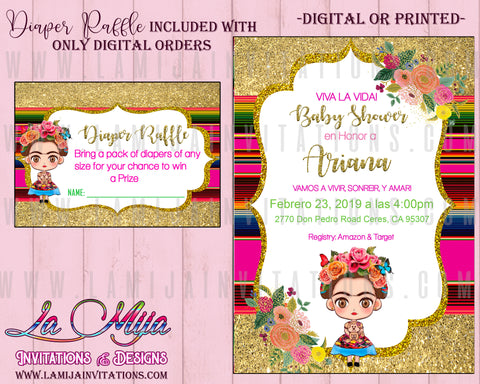Frida Kahlo Birthday Theme, Customized Item, Frida Kahlo Baby Shower,Frida Invitations, Frida Kahlo Invitations, Frida Invitaciones, Birthday