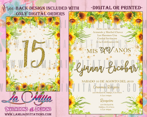Quinceanera Invitations, Customized Item, SunFlower Quinceanera Theme Invitations, Charra Sunflower Invites