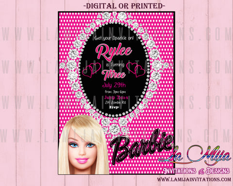 Barbie Invitations, Barbie Birthday, Barbie Birthday Ideas, Barbie Party Ideas, Barbie Birthday Invitations, Invitaciones Barbie, Barbie Party Invitations, Barbie Birthday Party Invitations, Barbie Invites - Addi Creations