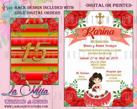 Quinceanera Invitations, Customized Item, Red Rose Quinceanera, Charra Quinceara Invitations