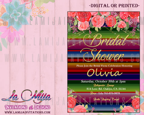 Fiesta Bridal Shower Invitations, Mexican Bridal Shower Invitations, Mexican Bridal Shower Theme, Invitaciones Despedida de Soltera