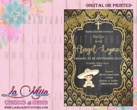 Charro Invitations, Customized Item,  Charro Baptism Invitations, Invitaciones Charro, Charro Theme Party, Mexican Baptism invitations
