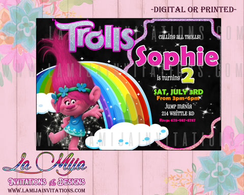 Trolls Invitations, Trolls Birthday Invitations, Trolls Disney Invitations, Trolls Birthday Party Theme, Trolls Party Ideas - Addi Creations