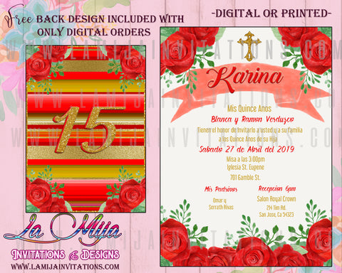 Quinceanera Invitations, Customized Item, Red Roses Quince Anos Invites, Invitaciones Quinceanera