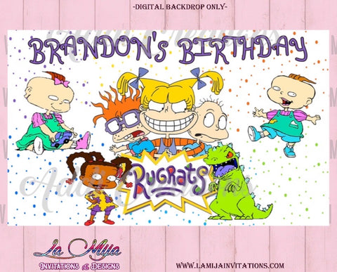 Rugrats Backdrop, Rugrats Birthday Backdrop, Rugrats Digital Backdrop - Addi Creations