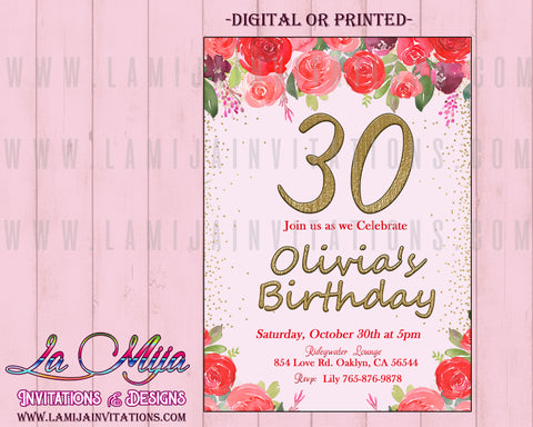 30th Birthday Invitations, Customized Item, 30th Party Invitations,30th Birthday Celebration, Invitaciones Cumpleanos 30, Mis 30 Invitaciones, 30th Party Themes - Addi Creations