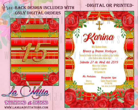 Quinceanera Invitations, Customized Item, Mexican Theme Quinceanera Invitations, Invitaciones Quince Anos