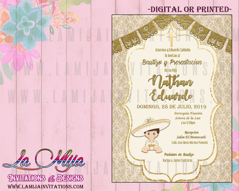 Charro Baptism Invitations, Customized Item,Charro Baptism Invites, Presentacion Tres Anos Invitations, Invitaciones Bautizo Charro, Mexican Baptism Invitations