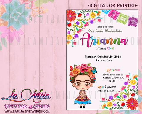 Frida Kahlo Invitations, Frida Kahlo Birthday Invitations, Frida Kahlo Fiesta, Invitaciones Frida Kahlo, Frida Kahlo Birthday Theme - Addi Creations