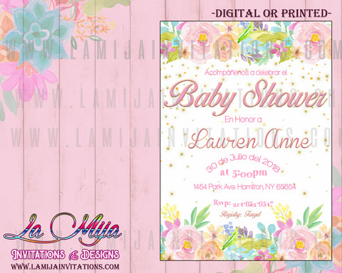 Baby Shower Invitations, Customized Item,Spanish Baby Shower Invitations, Invitaciones Baby Shower, Baby Shower Espanol,Baby Shower Flower Invitations