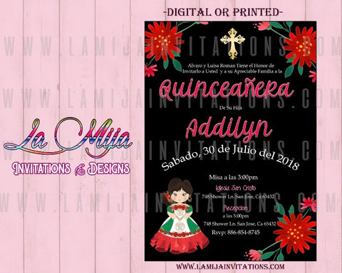 Quinceanera nIvitations, Customized Item, Charra Theme Quinceanera Invitations, Mexican Quince Anos Invites, Mexican lFowers Quinceanera Ideas - Addi Creations