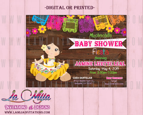 Baby Fiesta Invitations, Customized Item, Mexican Theme Baby Shower Invitations, Invitaciones Baby Shower, Senorita Baby Shower Invites, Muchachita - Addi Creations