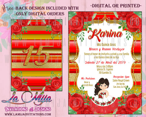 Quinceanera Invitations, Red and Gold Quinceanera, Customized Item, Charra Quince Anos Invitations