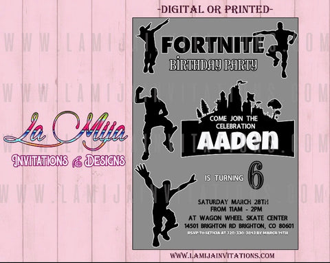Fortnite Invitations, Customized Item, Fortnite Birthday Invitations, Party Invites, Invitaciones de Fortnite - Addi Creations