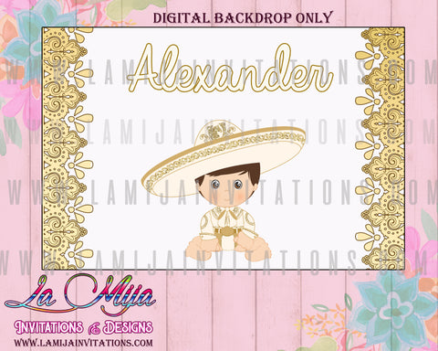 Charro Backdrop, Customized tIem, Charro Digital Backdrop, le Table Backdrop Charro,  Gold Charro Backdrop