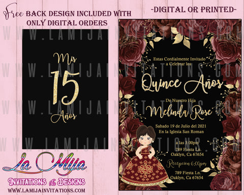 Quinceanera Invitations, Customized Item, Burgundy Flowers Quinceanera Invites, Invitaciones de Quince Anos, Elegant Quinceanera Invites - Addi Creations