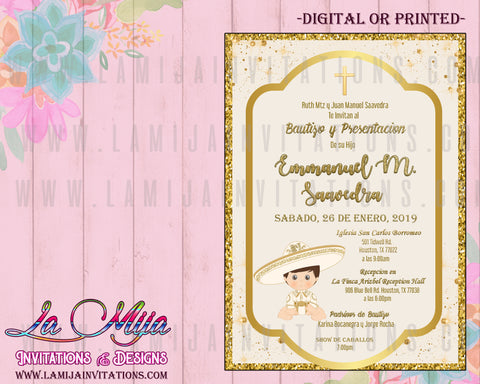 Charro Invitations, Customized Item, Charro Baptism Invitations, Mexican Baptism, Invitaciones Charro Bautizo, Charrito