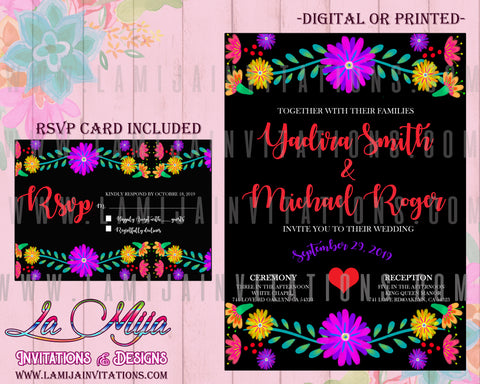Mexican Wedding Invitations, Mexican Theme Wedding Invitations, Fiesta Wedding Invitations, Mexican Wedding Party Invites, Invitaciones Boda Mexicana