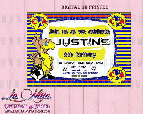 Club America Inivtations,  Customized Item, Club America Party Invites,Club America Birthday Party Ideas, Invitaciones Club America - Addi Creations
