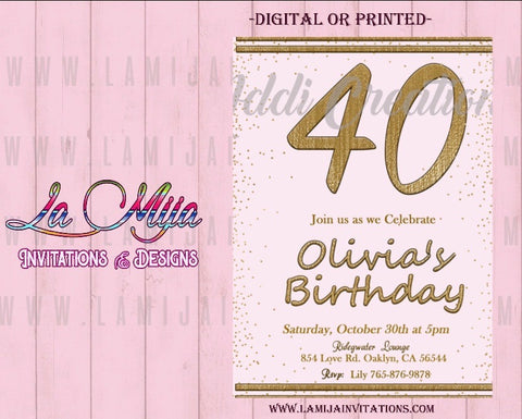 40th Birthday Invitations, Customized Item, 40th Party Invites, Forty Birthday Invitations, Invitaciones Cumpleanos 40 - Addi Creations