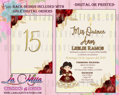 Quinceanera Invitation, Customized Item, Charra Quinceanera Invitation, Burgundy Quinceanera Invitations