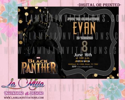 Black Panther Birthday Party Ideas, Customized Item, Black Panther Invitations, Black Panther Birthday Invitations, Fiesta Black Panther