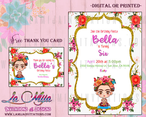 Frida Kahlo Birthday Theme, Customized Item, Frida Kahlo Baby Shower,Frida Invitations, Frida Kahlo Invitations, Frida Invitaciones, Birthday - Addi Creations