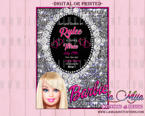 Barbie Birthday Party, Customized Item, Barbie Party Ideas, Barbie Invitations, Barbie Birthday Invitations, Barbie Party Invitations, Barbie Birthday Party Invitations, Barbies Invites - Addi Creations