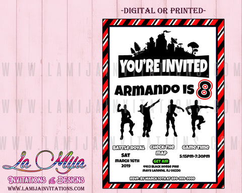 Fortnite Invitations, Customized Item, Fortnite Birthday Invitations - Addi Creations