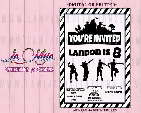 Fortnite Invitations, Customized Item, Fortnite Birthday Invitations, Fortnite Party Theme - Addi Creations