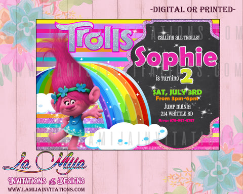 Trolls Disneym Trolls Invitations, Trolls Birthday Invitations, Trolls Party Ideas, Trolls Disney Invitations - Addi Creations