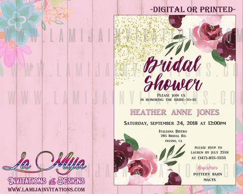 Burgandy Bridal Shower Invitations, Customized Item, Bridal Shower Invitations, Floral Bridal Shower Invitations, Invitaciones Bridal Shower, Invitaciones Despedida de Soltera, Flower Bridal Shower Invites