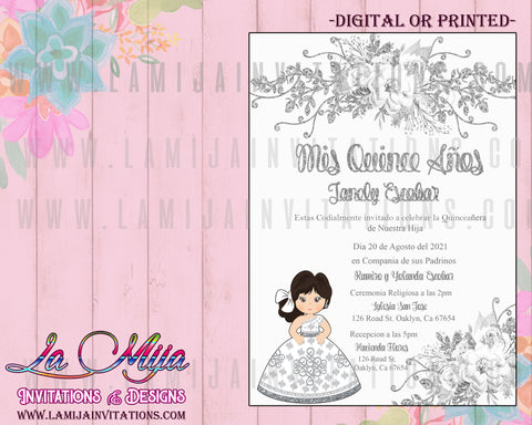 Quinceanera Invitations, Customized Item, Purple Charra Quinceanera Invitations, Invitaciones Quince Anos - Addi Creations