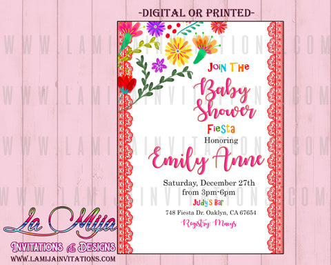 Fiesta Baby Shower Invitations, Customized Item,  Mexican Baby Shower Invitations, Baby Fiesta Invites, Mexican Theme Baby Shower Invitations - Addi Creations