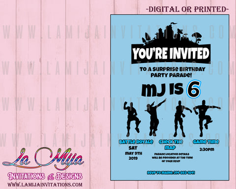 Fortnite Invitations, Customized Item, Fortnite Birthday Invitations, Invitaciones Fortnite - Addi Creations