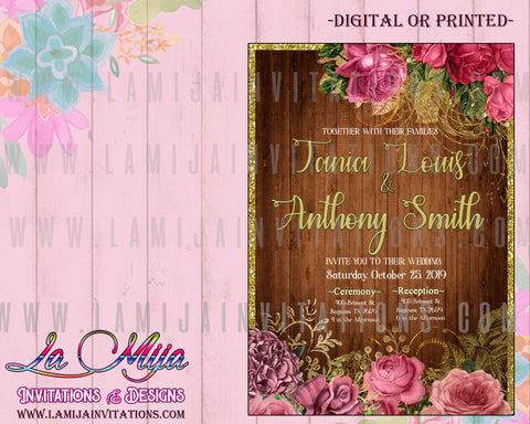 Wedding Invitations, Floral Wedding Invitations, Rustic Wedding Invitations, Pink Flower Wedding Invitaciones de Boda