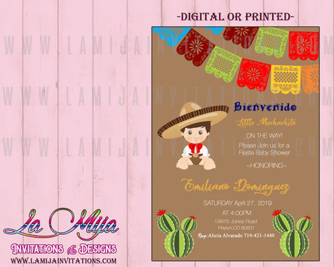Baby Fiesta Invitations, Customized Item, Mexican Theme Baby Shower Invitations - Addi Creations