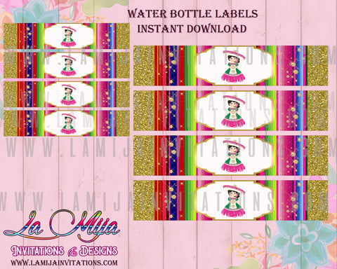 Charra Party. Customized Item, Charra Water Bottle Labels, Instant Download, Charra Birthday