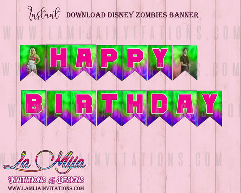 Zombies Disney, Zombies Disney Birthday, Instant Download Zombies Disney, Zombies Disney Banner, Zombies Disney Digital Download - Addi Creations