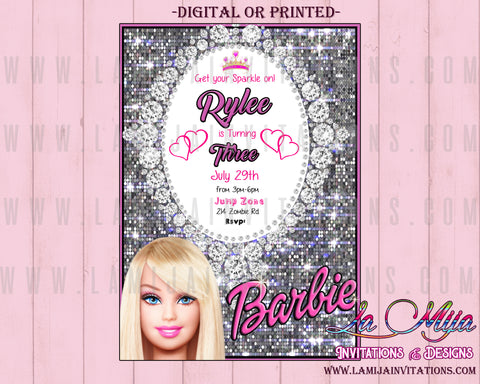 Barbie Invitations, Barbie Birthday, Barbie Birthday Invitations, Barbie Birthday Party Ideas, Barbie Invites, Barbie Invitations, Barbie Invitaciones - Addi Creations