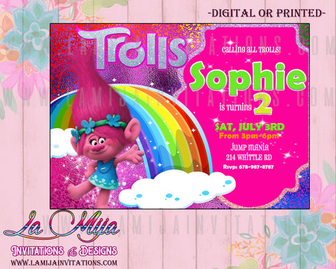 Trolls Invitations, Trolls Birthday Party, Trolls Birthday Invitations, Trolls Birthday Theme - Addi Creations