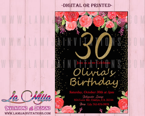 30th Birthday Invitations, Customized Item,30th Party Invites, 30th Party Invitations, 30th Birthday Celebration, Invitations Cumple 30 - Addi Creations