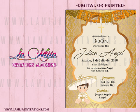 Charro Invitations,Customized Item,  Charro baptism Invitation, Mexican Theme Baptism, Invitaciones Charro