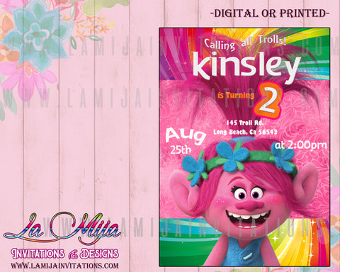 Trolls Birthday Invitations,Trolls Party Invites, Trolls Party Invitations, Trolls Party Ideas, Invitaciones Trolls - Addi Creations