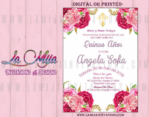 Quinceanera Invitations,Customized Item, Pink Flower Quinceanera Invites - Addi Creations