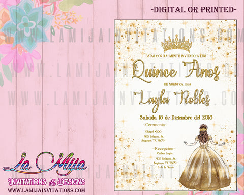 Quinceanera Invitations, Invitaciones Quinceanera, Gold and White Quinceanera Invites, Elegant Quinceanera