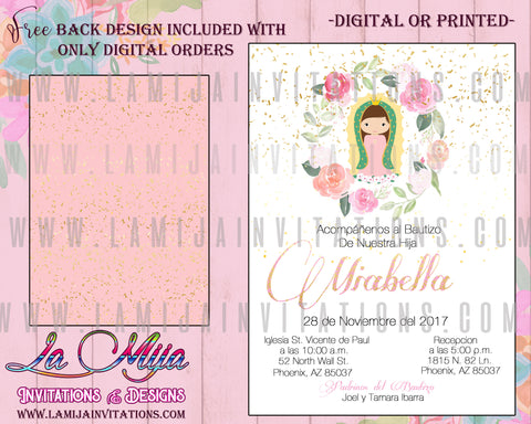 Baptism Invitations, Customized Item,Virgencita Invitations, Virgen de Guadalupe Invitations, Religious Invitations