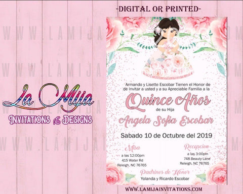 Quinceanera Invitations, Customized Item, Charra Quinceanera Invitations, Invitaciones Quince Anos - Addi Creations