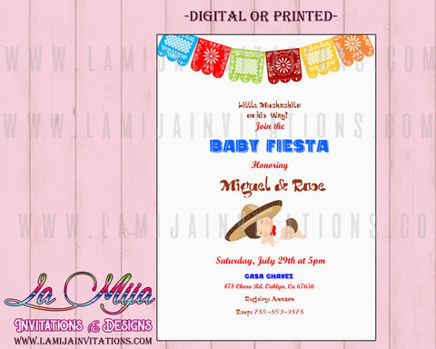 Baby Fiesta Shower Invitations, Customized Item, Mexican Theme Baby Shower Invitations - Addi Creations